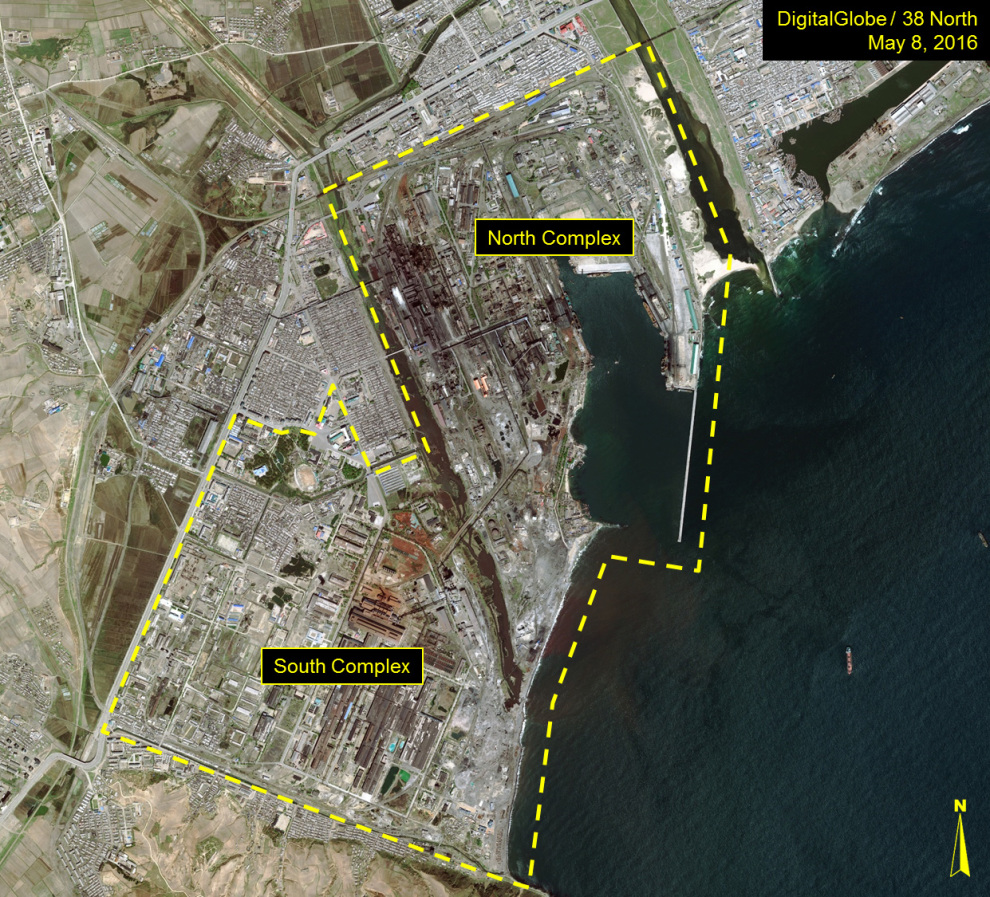 Overview of the Kim Ch'aek Iron and Steel Complex (Photo: Digital Globe, 38 North).