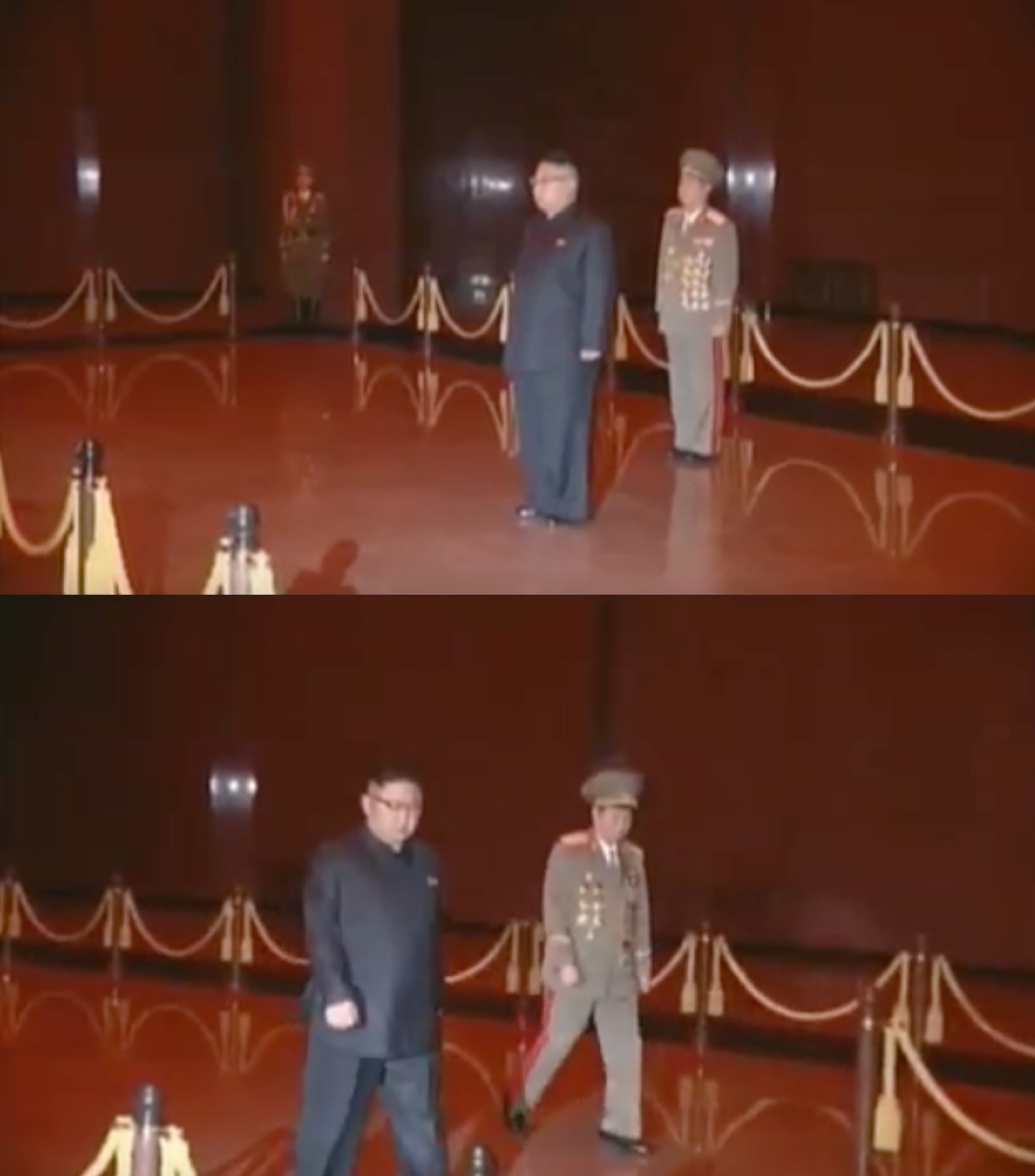 Kim Jong Un in the chamber containing the preserved remains of his father on February 16, 2017 (Photo: Korean Central Television).