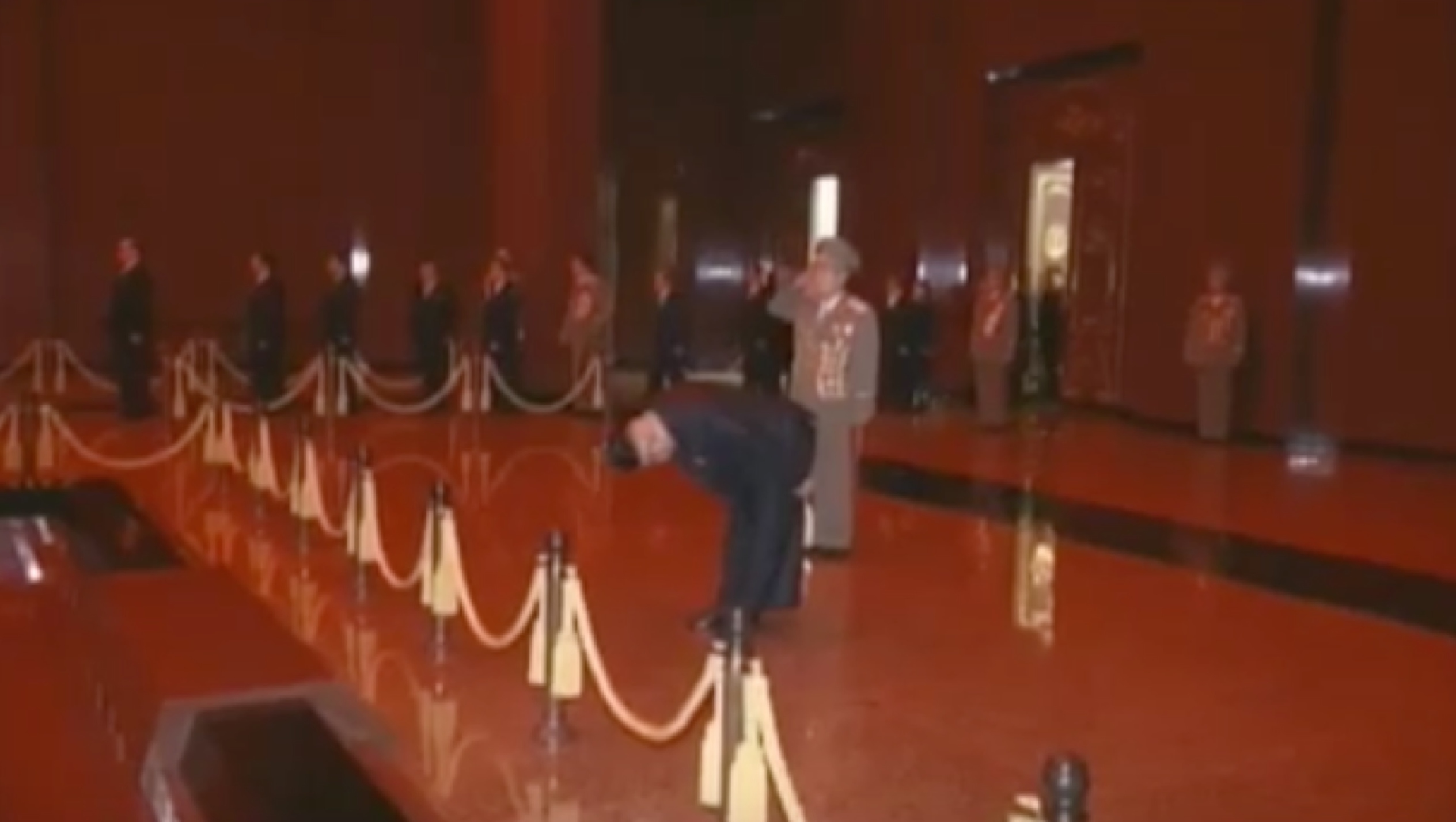 Kim Jong Un bows in front of the preserved remains of his father, late DPRK leader Kim Jong Il, on February 16, 2017 (Photo: Korean Central Television).