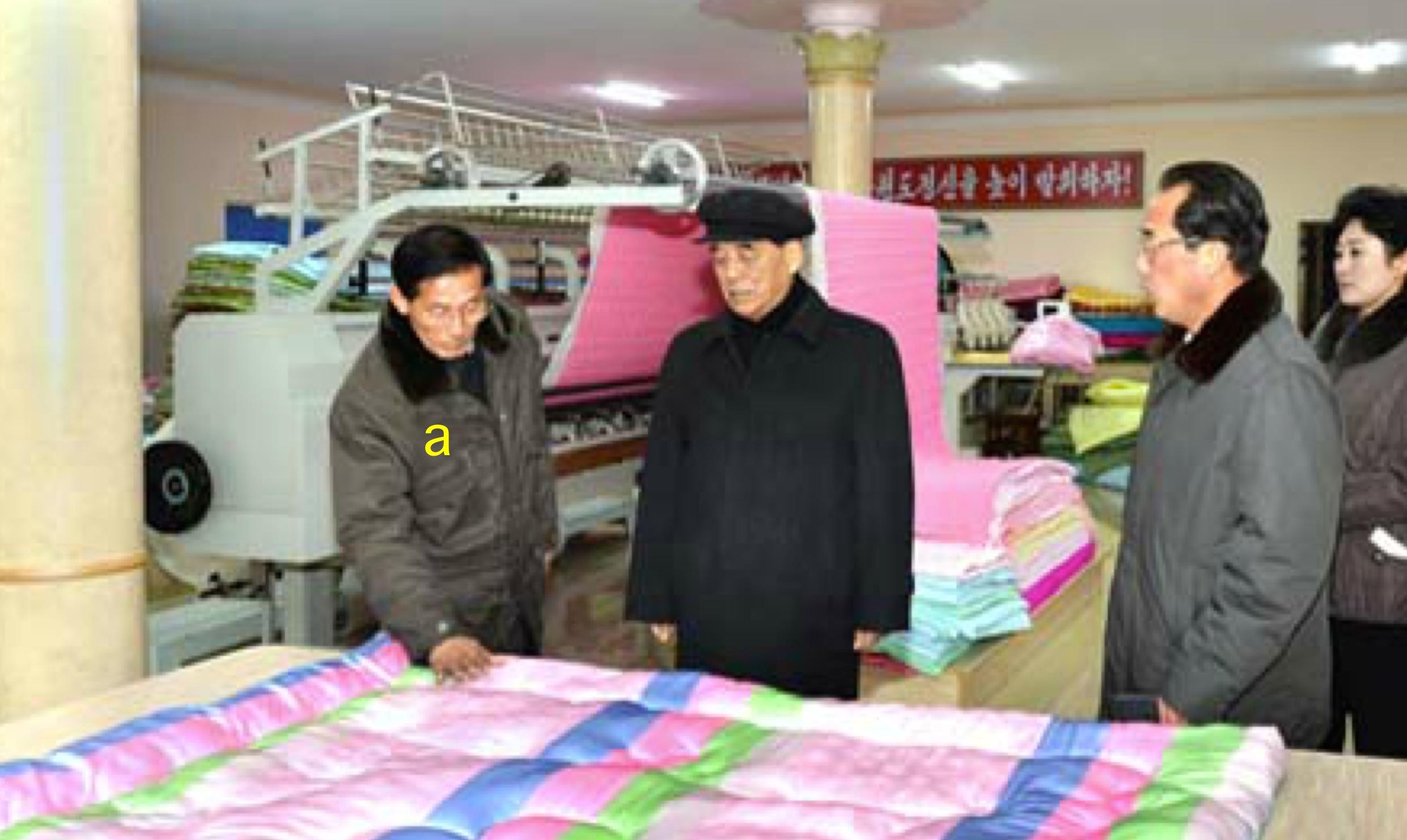 DPRK Premier Pak Pong-chu tours Kim Cho'ng-sik Silk Mill.  Also in attendance [b] is DPRK Vice Premier Ri Chu-o